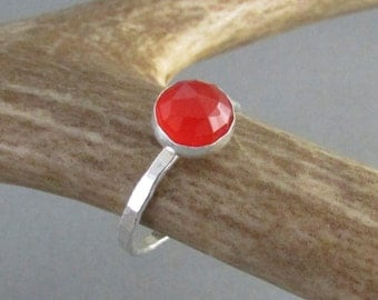 Carnelian ring sterling silver - gemstone ring - carnelian jewelry - stacking ring