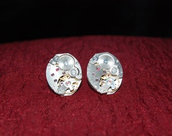 Small Oval Watch Movement Earrings