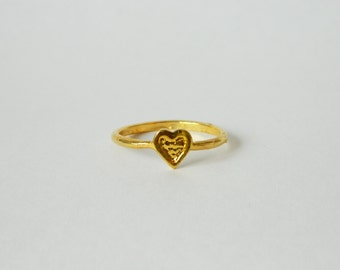 Gold Textured Heart Ring