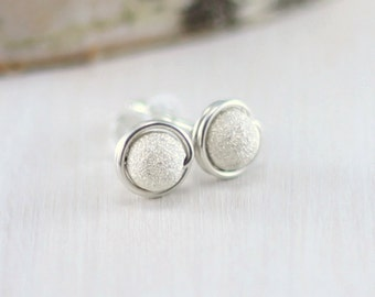 Sterling Silver Stud Earrings, Wire Wrapped Sterling Silver Post Earrings Stardust Earrings Silver Jewelry