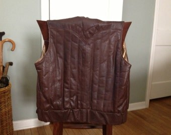 Frye Brown Leather Vest Made in USA Size 38
