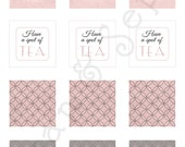 Printable 2x2 Party Squares Favor Tags - Antique Teapot - Tea Party Victorian Vintage Cottage, Pink Grey Gray Brown White