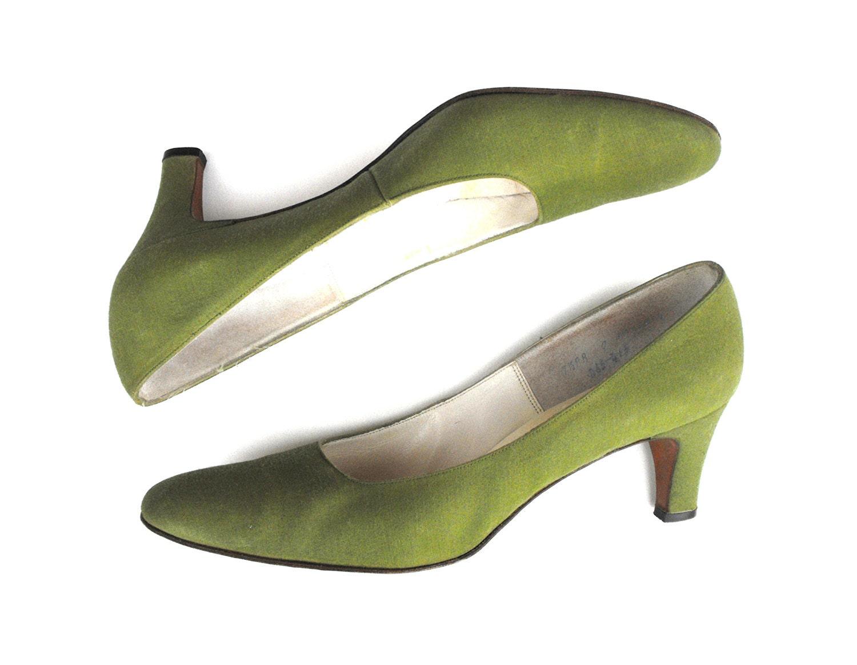 1950s De Liso Debs Olive Green Pumps Vintage Haute Couture
