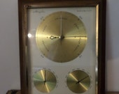 Vtg Weather Station Airguide Barometer Trio Temp, Humidity Retro wood & Brass
