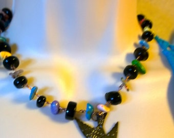 Bird and Safety Pins- Black and Rainbow Stone Beaded Necklace with Pendant
