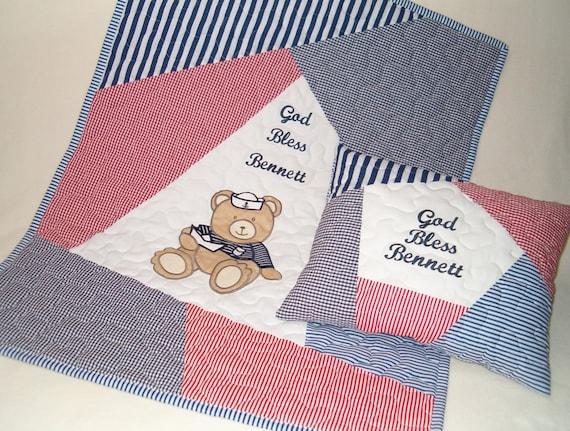 Navy Baby Quilt, Sailor Teddy Bear Child Blanket, Nautical Crib Bedding, Decorative Embroidered Pillowcase