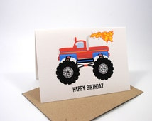 Birthday Card - Boy - Monster Truck Red with Flame - HBC099