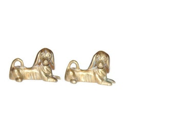 Vintage Brass Dogs, Dog Decor, Pair of Dog, Laying in Rest Dogs, Antique Alchemy