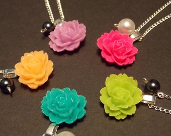 Rose Pearl Necklace- You Choose Your Color
