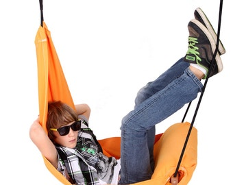 Special Patent Hanging Chair Hammock Chair Swing for Indoor  - Outdoor, Patio and Porch. Color Orange Mango. Adjustable (Hang Solo).