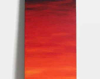 "Sunrise - Original Acrylic Painting - 12X36"" - Sunrise Painting - Skinny painting - Painting of sun"