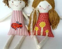 Brother Sister, Set of 2 Custom Rag Dolls, Cloth Doll, Waldorf Siblings