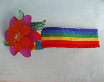 Sale Was 3.25 - Large Snap Barrette - Tropical Lucite Flower Snap Barrette - Striped Snap Barrette - Orange & Purple Flower Barrette