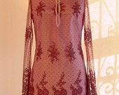 Chantilly Lace Tunic Mini Dress in Plum-Purple-Lilac. LACE Party Dress Lined in Silk.