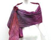 Silk and Merino Wrap Nuno Felted Misty Evening