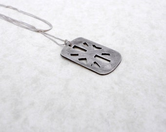 Silver Metal Clay Necklace, Geometric, Silver Pendant, Fine Silver, PMC