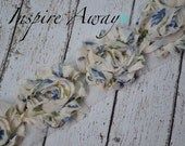 Blue Vintage Floral Shabby Chiffon Flower Trim - Your choice of 1 yard or 1/2 yard -  Chiffon Shabby Rose Trim, DIY headband supplies,