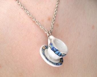 SALE Mini ceramic tea cup necklace with blue art deco style pattern