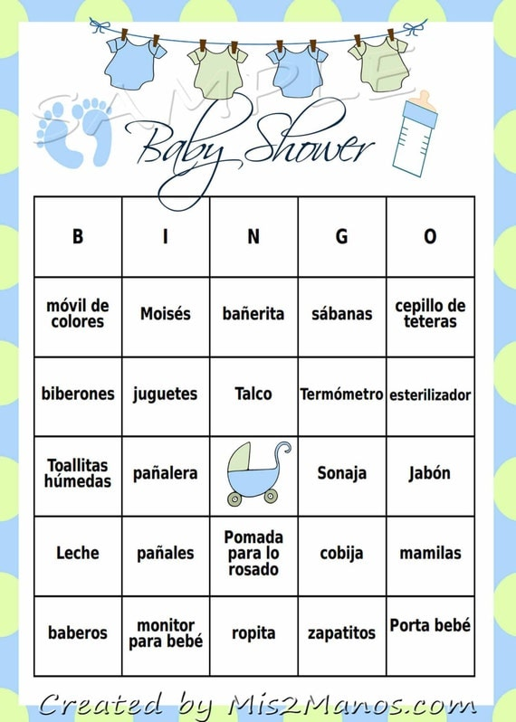 Baby Shower Bingo Game Blue Green Clothes Line Loteria