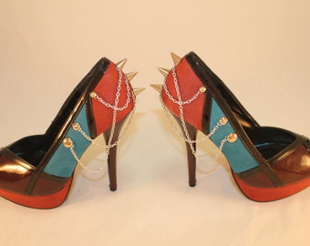 Multi Color Spiked Heels 7