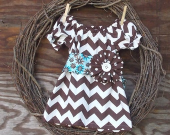 Girls Brown Chevron Dress, Chevron Dress, Girls peasant dress, Kids Brown Dress, Girls  Dress