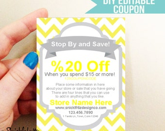 DIY Printable Coupon- Yellow Chevron -Business Card size- Digital Download