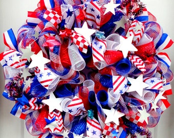 Patriotic Wreath - Summer Wreath - Mesh Wreath - Memorial Day - Independence Day - Red White and Blue