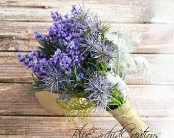 Lavender Bouquet with Thistles - Purple Bouquet, Outdoor Wedding Bouquet, Shabby Chic Bouquet, Vintage Inspired Bouquet, Rustic Chic Bouquet