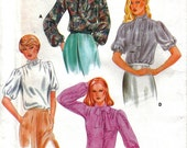 Misses Kawaii Tie-Neck Blouse With Pleats and Puff Sleeves Butterick 3936 Size 10 Bust 32.5