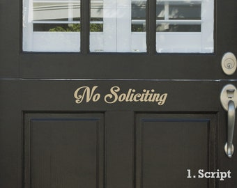 No Soliciting Vinyl Door or Window Lettering For Your Home with Free Shipping, front door entryway no soliciting sticker no solicitors