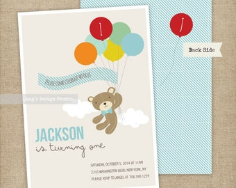 Boy Teddy bear and balloons birthday invitation | Printalbe or Printed