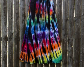 Long Tie-Dyed Stained Glass Rayon Skirt