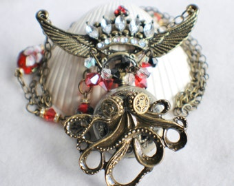 Octopus pocket watch pendant, steampunk style, octopus with rhinestone crown.