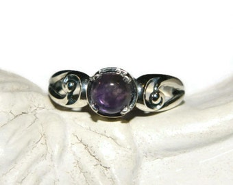 Purple Amethyst Ring, Low Profile Ring, Middle finger Cabochon Ring