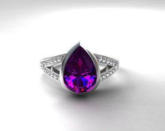 amethyst engagement ring pear cut ring diamond engagement bezel solitaire split - Amethyst Wedding Ring
