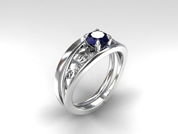 Engagement ring set Blue sapphire engagement ring filigree