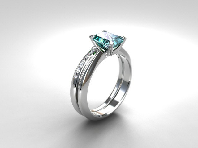 Platinum Engagement Ring Set Emerald Cut Aquamarine Ring