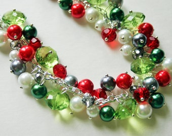 Christmas Necklace, Red, Silver, Green, and BLING! Holiday Jewelry, Christmas Jewelry, Red Green Jewelry, Christmas Gift Christmas Present