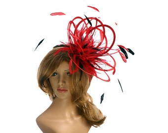 Red and Black  Satin  Feather Fascinator Hat - wedding, ladies day - choose any colour feathers & satin