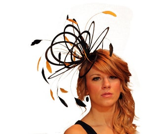 Black  and Sunshine Yellow Feather Fascinator Hat - wedding, ladies day - choose any colour feathers & satin