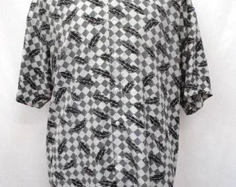 Black and White Silk Shirt