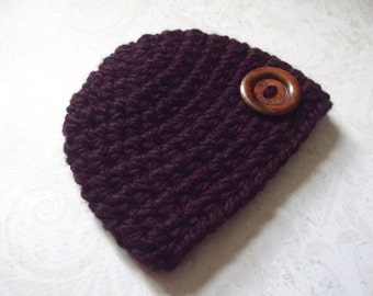 Newborn Girl Hat Newborn Baby Girl Hat Newborn Hat Girl Newborn Hat Newborn Beanie Purple Eggplant Baby Hat Purple Baby Hat Wood Button
