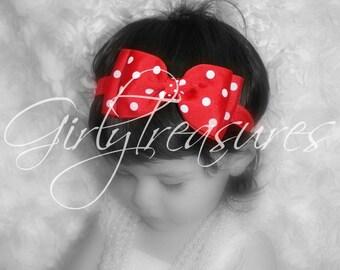 Minnie Mouse Bow on Headband. Polka Dots Headband. Baby Headband. Infant Headband. Girl Headband. Photo Prop.