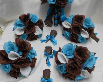 Wedding Flowers: blue and brown wedding flowers