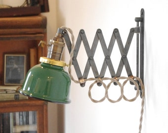 "Scissor Wall Lamp - Antiqued Patina Steampunk Lamp with Gas Station Green & White Porcelain Enamel 5"" Shade"
