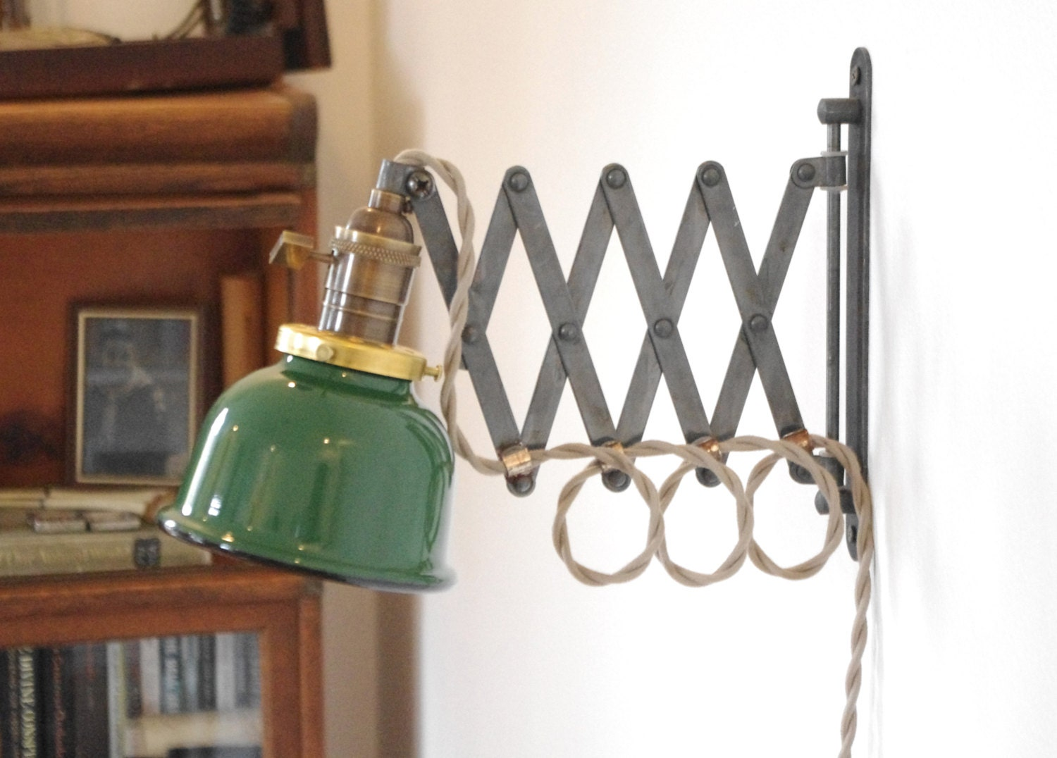 🔎zoom - Scissor Wall Lamp Antiqued Patina Steampunk Lamp With Gas