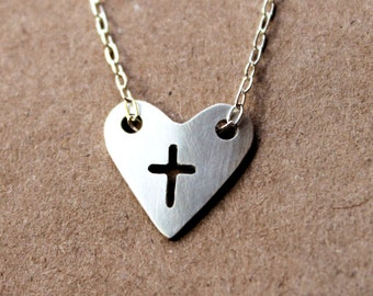 Handmade Silver Heart Cross Necklace - Fine - Sterling Silver Necklace - PMC Jewelry - Metalwork - Cross Jewelry