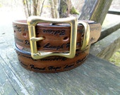 Brown Leather Belt engraved Live, Love, Laugh, Inspirational Words, Ladies Belt, Womans Belt