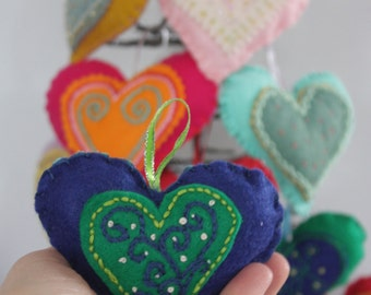 Heart Ornaments (Set of 6). Handmade Felt Ornament. Embroidered Ornament. Christmas Ornament.