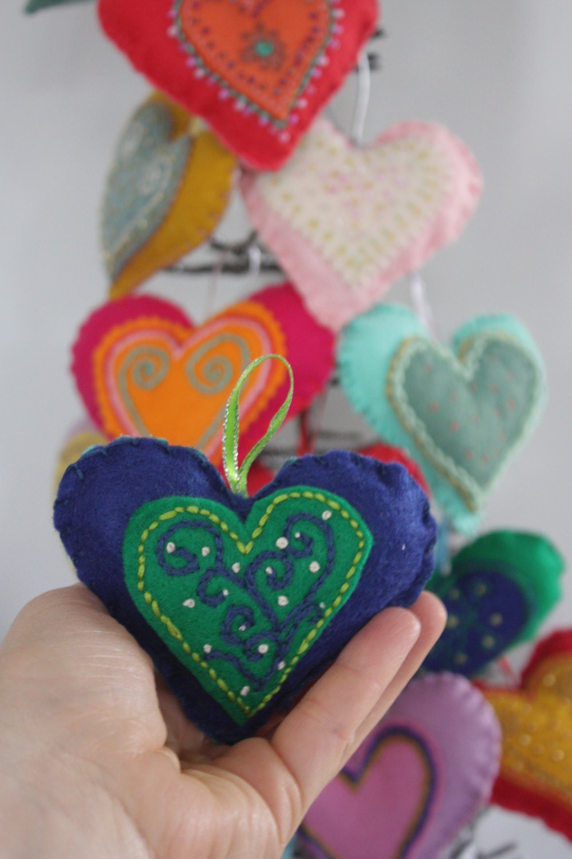 Heart Ornaments Set Of 6 Handmade Felt Ornament
